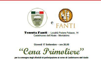 Cena Primoliere – Montalcino loc. Podere Palazzo